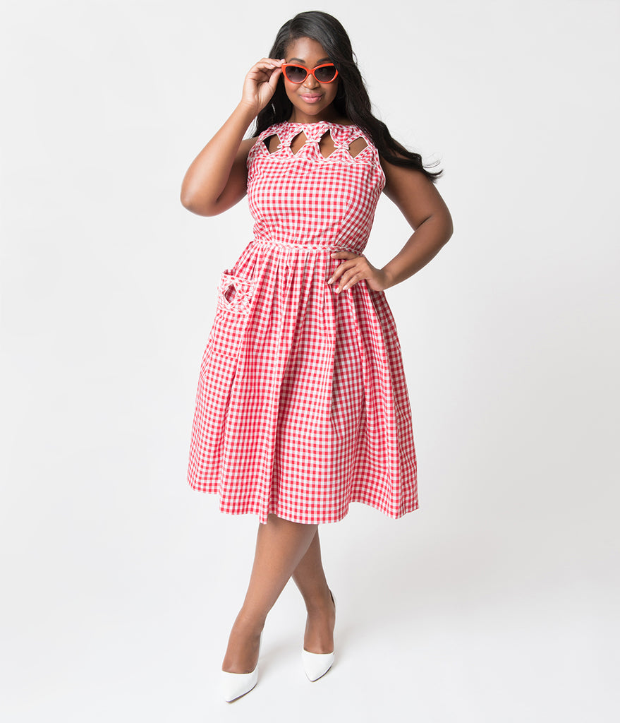 Unique Vintage Plus Size 1940s Style Red Gingham Picnic Weave Lakewood Dress