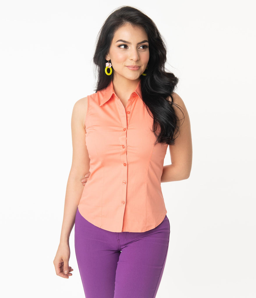 Orange Coral Sleeveless Collared Cotton Button Up Blouse