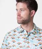 Unique Vintage Rainbow Print Button Up Mens Shirt