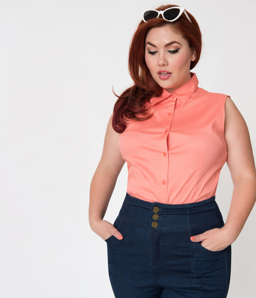 Plus Size Orange Coral Sleeveless Collared Cotton Button Up Blouse