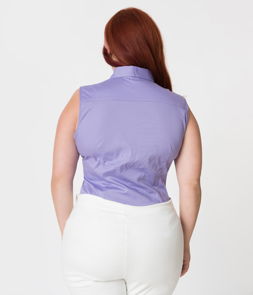 Plus Size Lilac Purple Sleeveless Collared Cotton Button Up Blouse