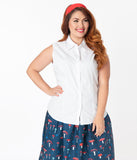 Plus Size White Sleeveless Collared Cotton Button Up Blouse