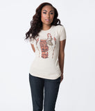Beige Retro Cherry Tiki Pin-Up Cotton Short Sleeve Tee