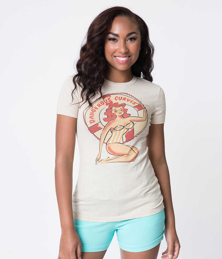 Retro Style Beige Dangerous Curves Pin-Up Cotton Short Sleeve Tee
