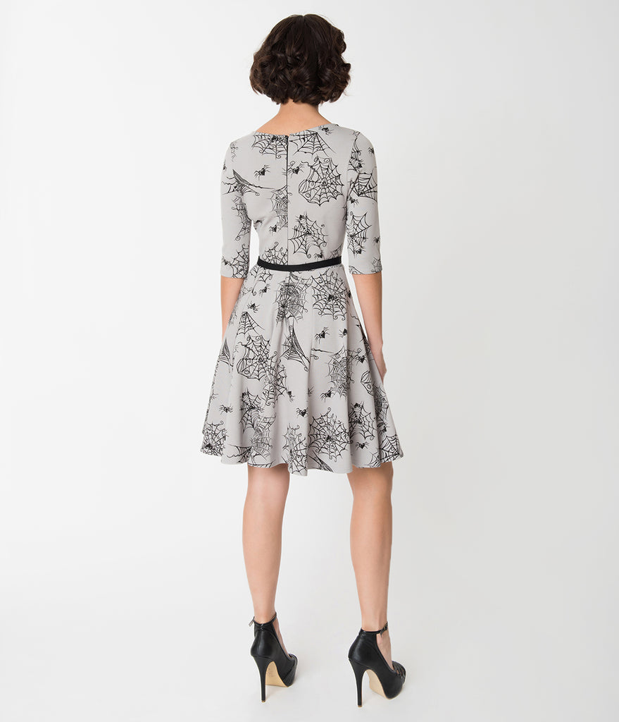 Unique Vintage Grey Spiderwebs of Love Knit Flare Dress