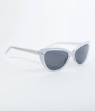 Silver White Smirk Cat Eye Sunglasses