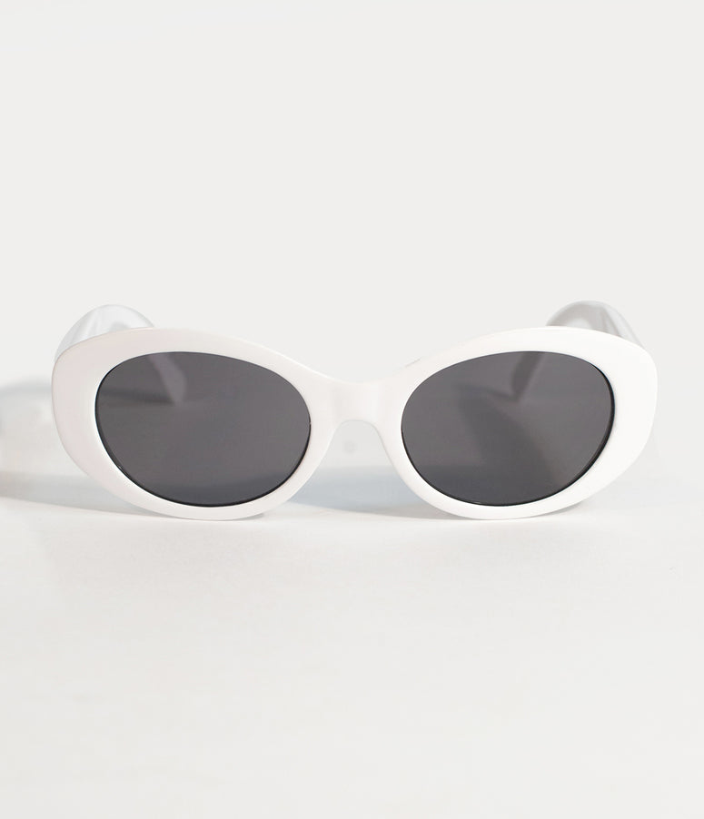 Retro Style White Backseat Oval Sunglasses