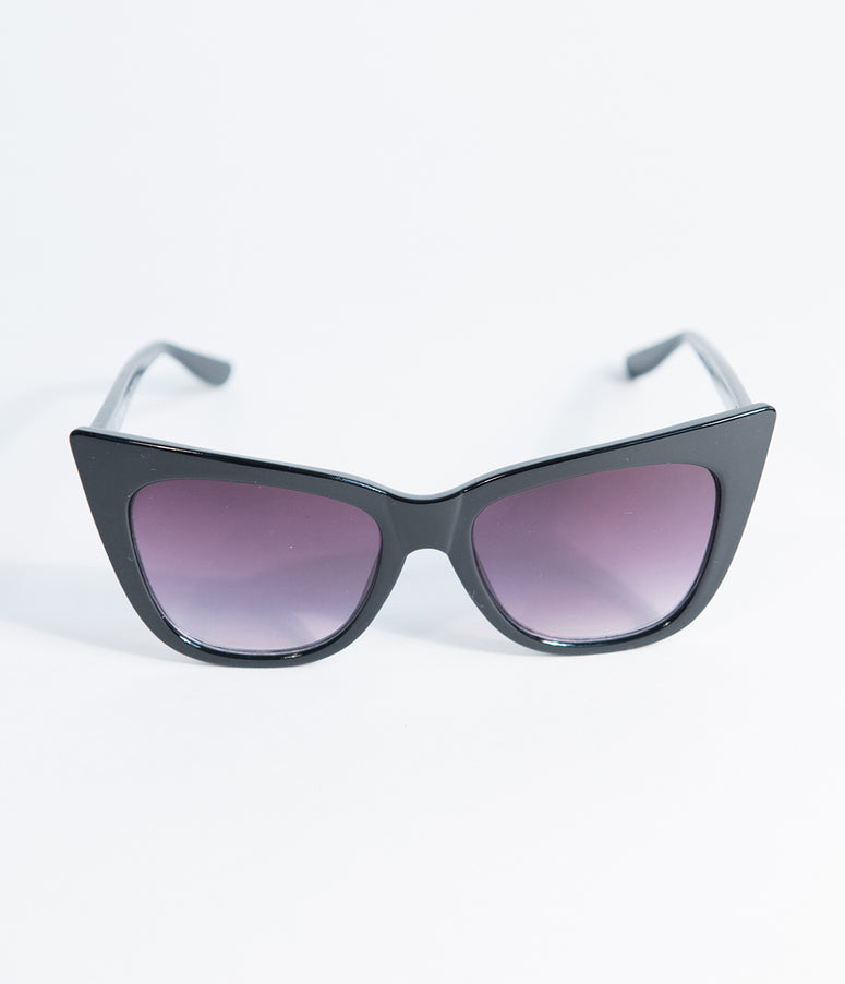 Black Vamp Pointed Cat Eye Sunglasses