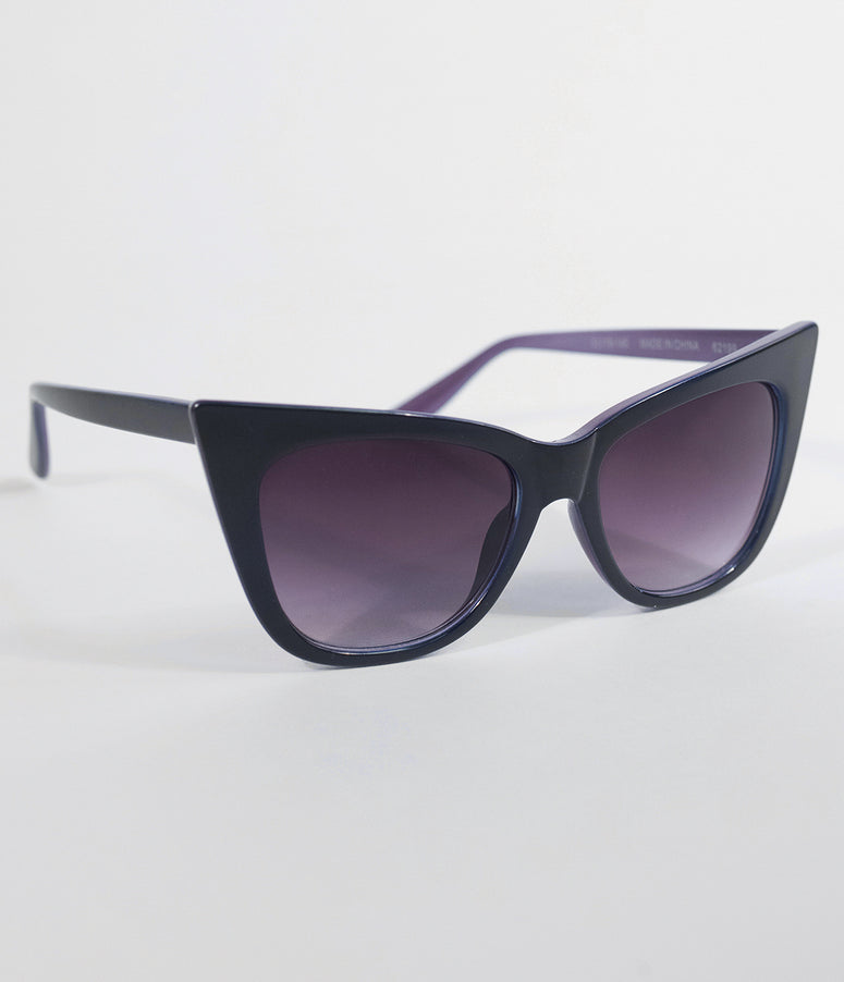 Dark Purple Vamp Pointed Cat Eye Sunglasses