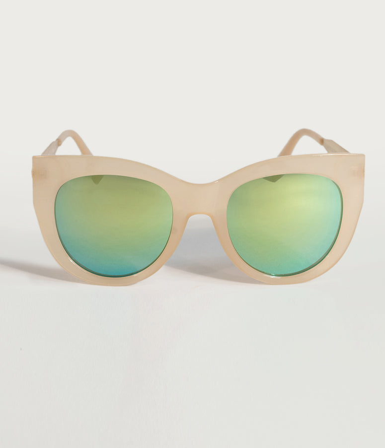 Vintage Style Matte Champagne Cat Eye Sunglasses