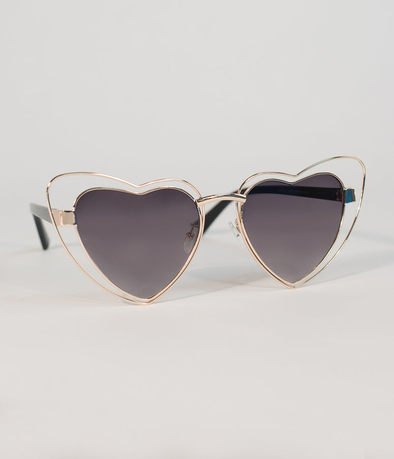 Retro Style Gold Heart Shaped Wire Sunglasses