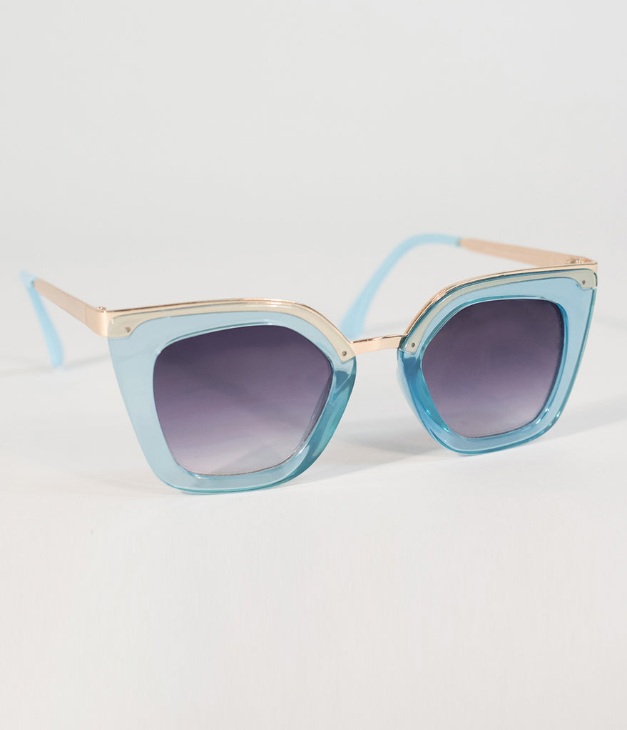 Retro Style Light Blue & Gold Cat Eye Sunglasses