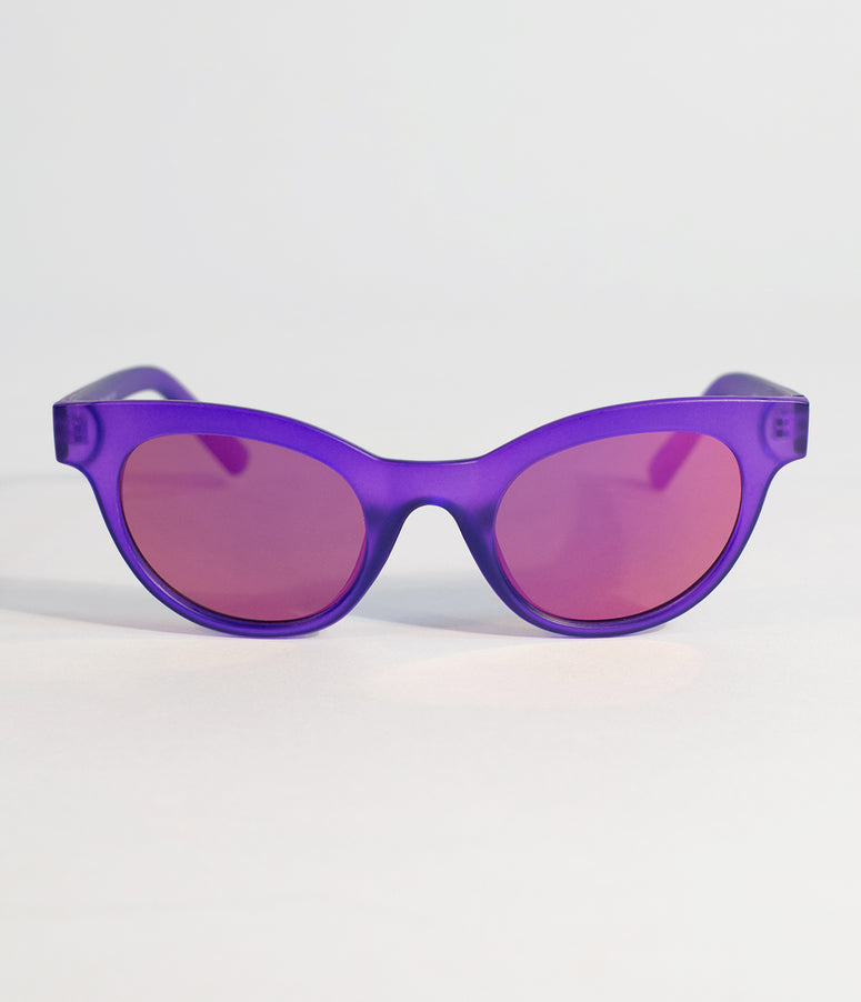 Retro Style Matte Purple Cat Eye Sunglasses