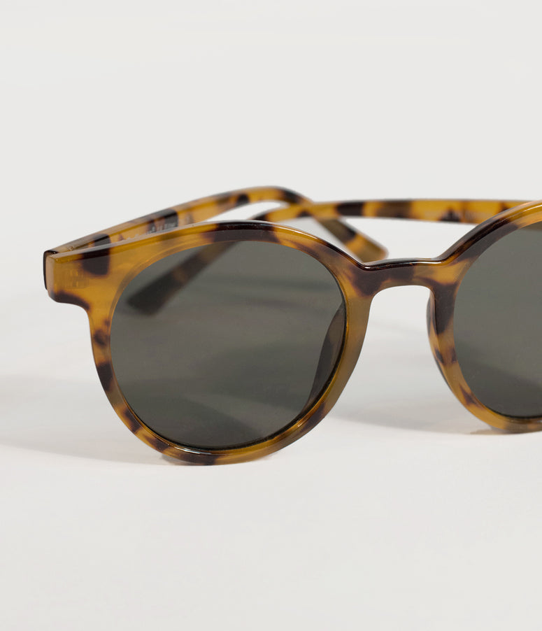 Retro Style Brown Tortoise Mod Round Sunglasses