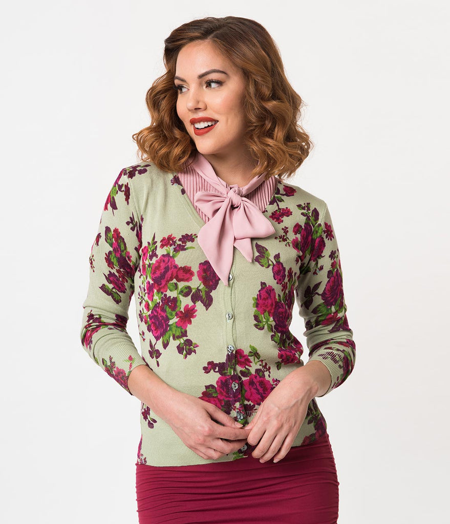 Sage Green & Pink Floral Print Long Sleeve Cotton Knit Cardigan