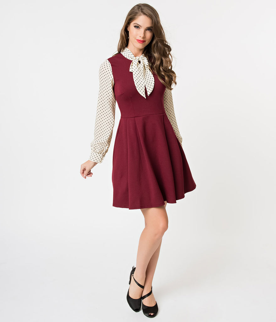 Exclusive 1960s Style Burgundy & Black Dot Long Sleeve She.E.O. Fit & Flare Dress