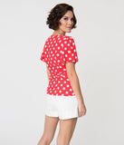 Retro Style Red & White Polka Dot Ruffled Short Sleeve Wrap Blouse