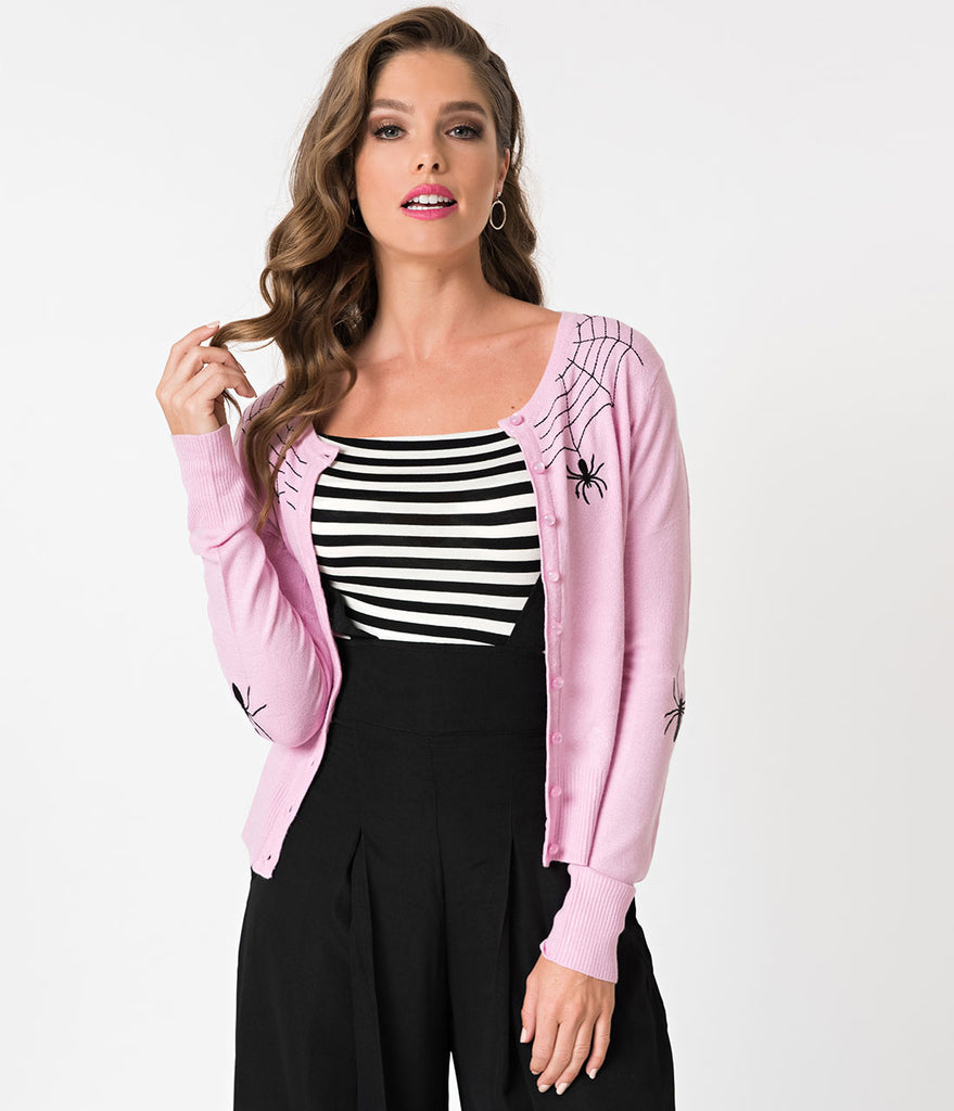 Hell Bunny 1950s Style Light Pink & Black Spider Knit Cardigan
