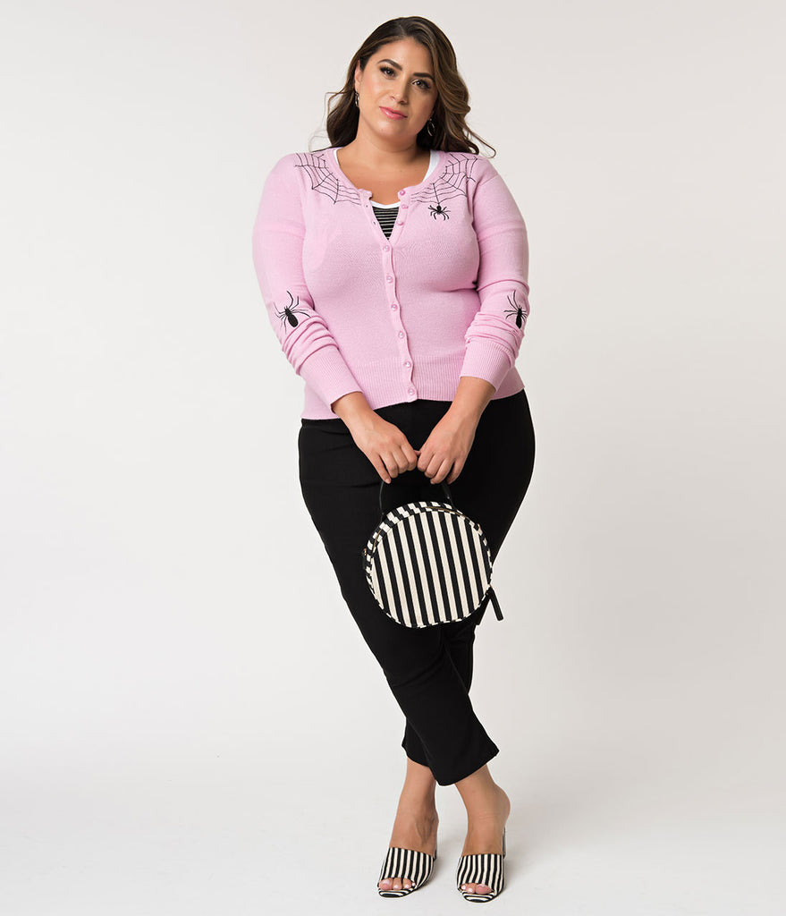 Hell Bunny Plus Size 1950s Style Light Pink & Black Spider Knit Cardigan