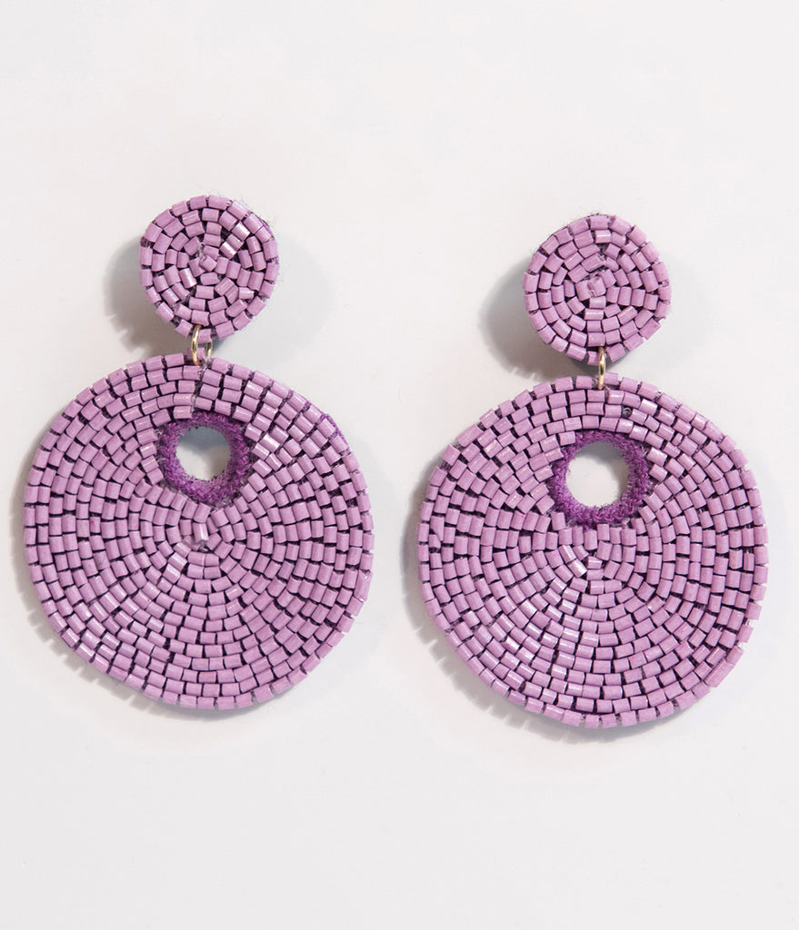 Light Purple Beaded Circle Drop Earrings