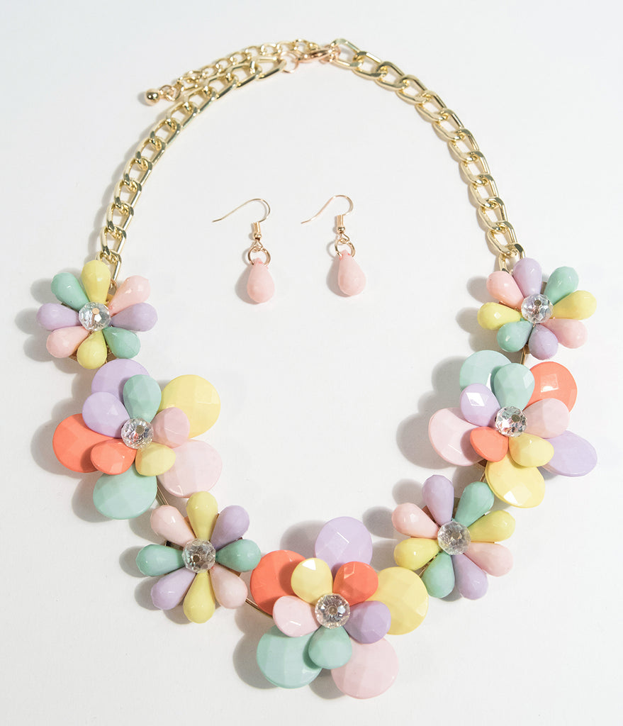 1960s Multicolor Gem Floral Necklace & Earring Statement Set