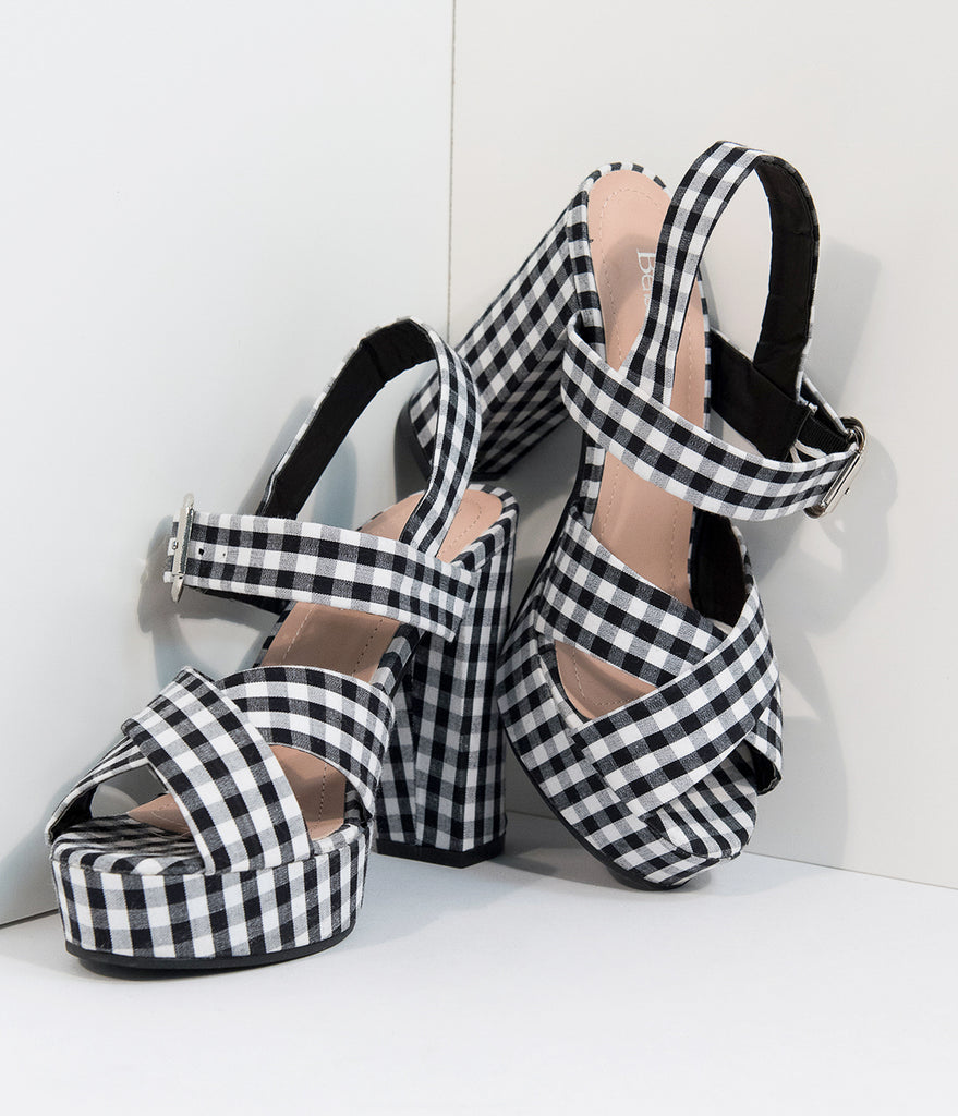 Black & White Gingham Platform Sandals