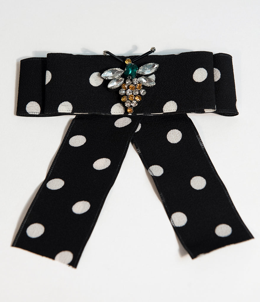 Black & White Polka Dot Ribbon Bow & Gemstone Brooch