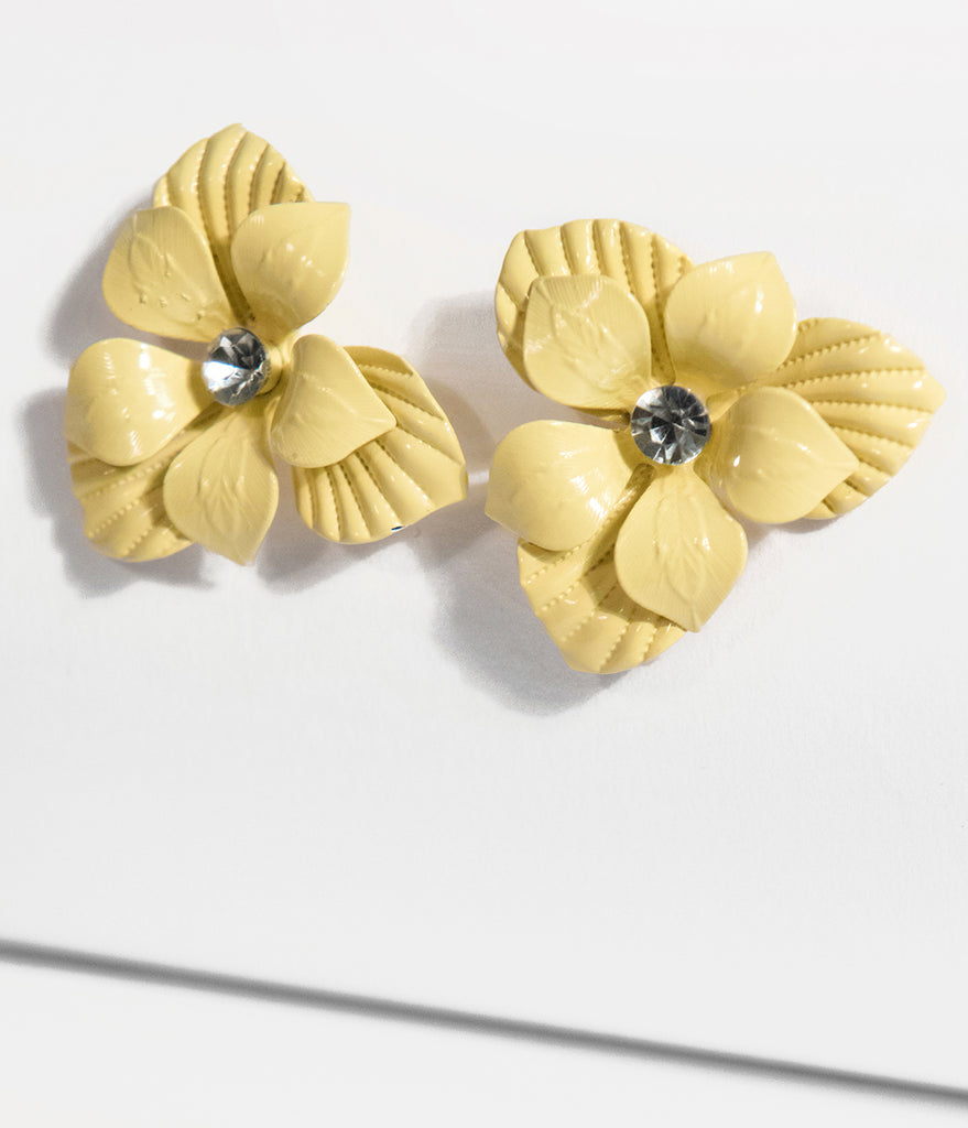 Yellow Floral Metal Stud Earrings