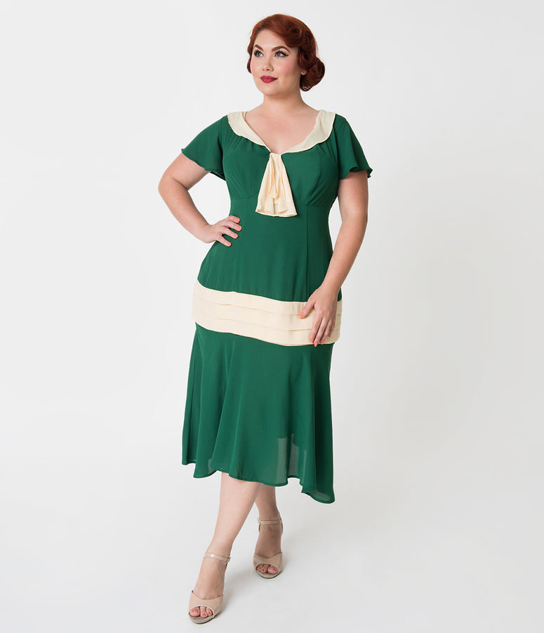 Unique Vintage Plus Size 1920s Green & Cream Wilshire Flapper Day Dress