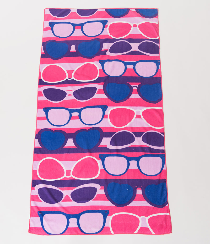 Purple & Pink Striped Sunglasses Beach Towel