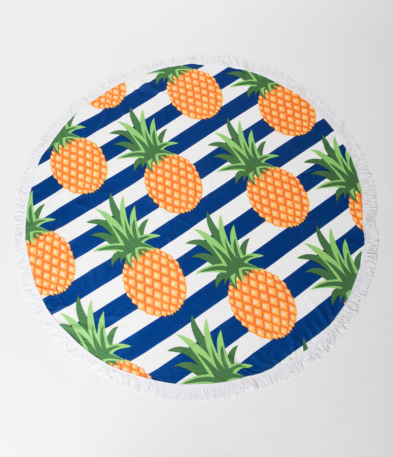 Navy & White Striped Pineapple Round Fringed Blanket