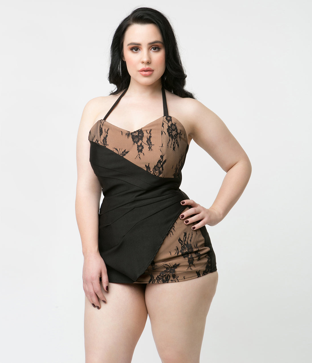 Vintage Bathing Suits | Retro Swimwear | Vintage Swimsuits Unique Vintage 1950S Style Black  Tan Lace Loren Playsuit $45.00 AT vintagedancer.com