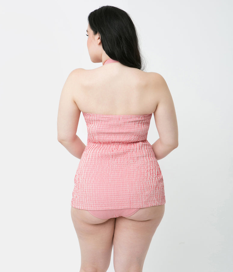Unique Vintage 1950s Style Red & White Striped Cotton Folly Playsuit