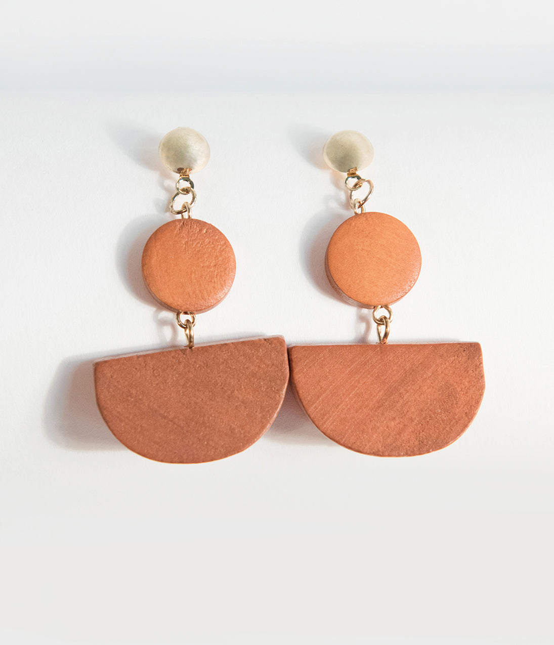 60s -70s Jewelry – Necklaces, Earrings, Rings, Bracelets Retro Style Brown Geometric Wooden Drop Earrings $18.00 AT vintagedancer.com