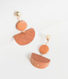 Retro Style Brown Geometric Wooden Drop Earrings
