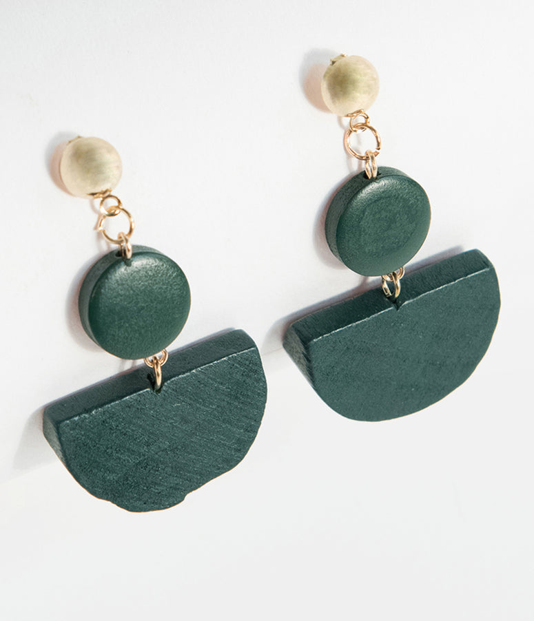 Retro Style Emerald Green Geometric Wooden Drop Earrings