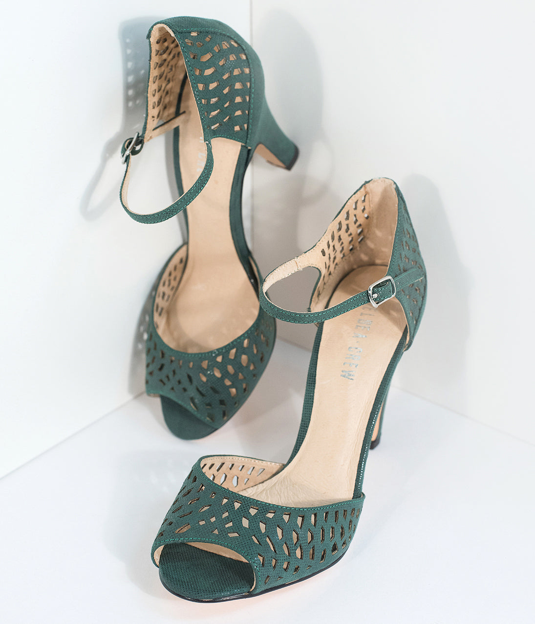 1950s Style Shoes Emerald Green Peep Toe Dorsay Liza Heels $64.00 AT vintagedancer.com