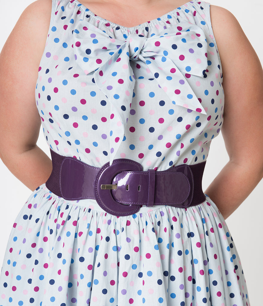Retro Style Purple Patent Leatherette Wide Elastic Cinch Belt