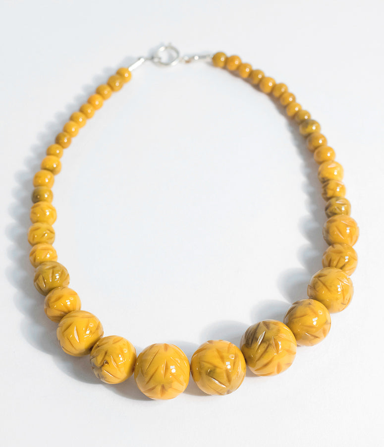Banana Yellow Carved Resin Beaded Necklace