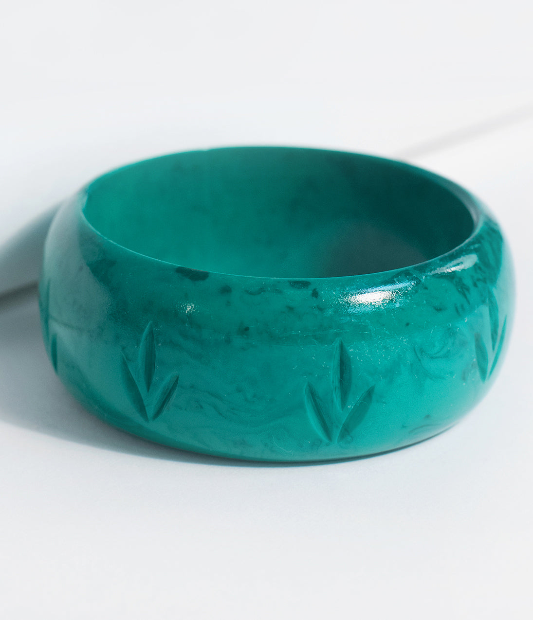 Vintage Style Jewelry, Retro Jewelry Green Malachite Resin Carved Wide Bangle $16.00 AT vintagedancer.com