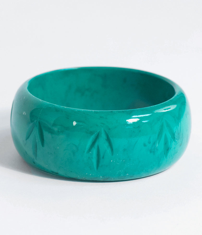 Green Malachite Resin Carved Wide Bangle