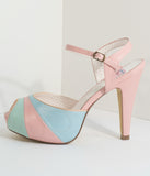 Retro Style Pink & Pastel Leatherette Peep Toe Pumps