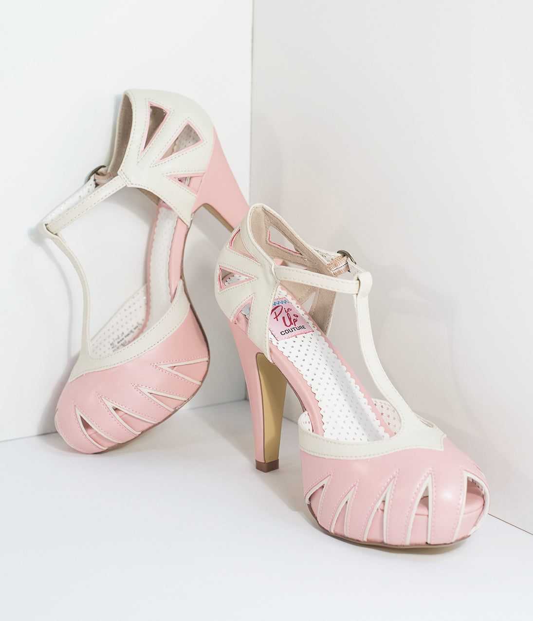 Pin Up Shoes- Heels, Pumps & Flats Vintage Style Light Pink  Cream T-Strap Platform Cutout Heels $68.00 AT vintagedancer.com