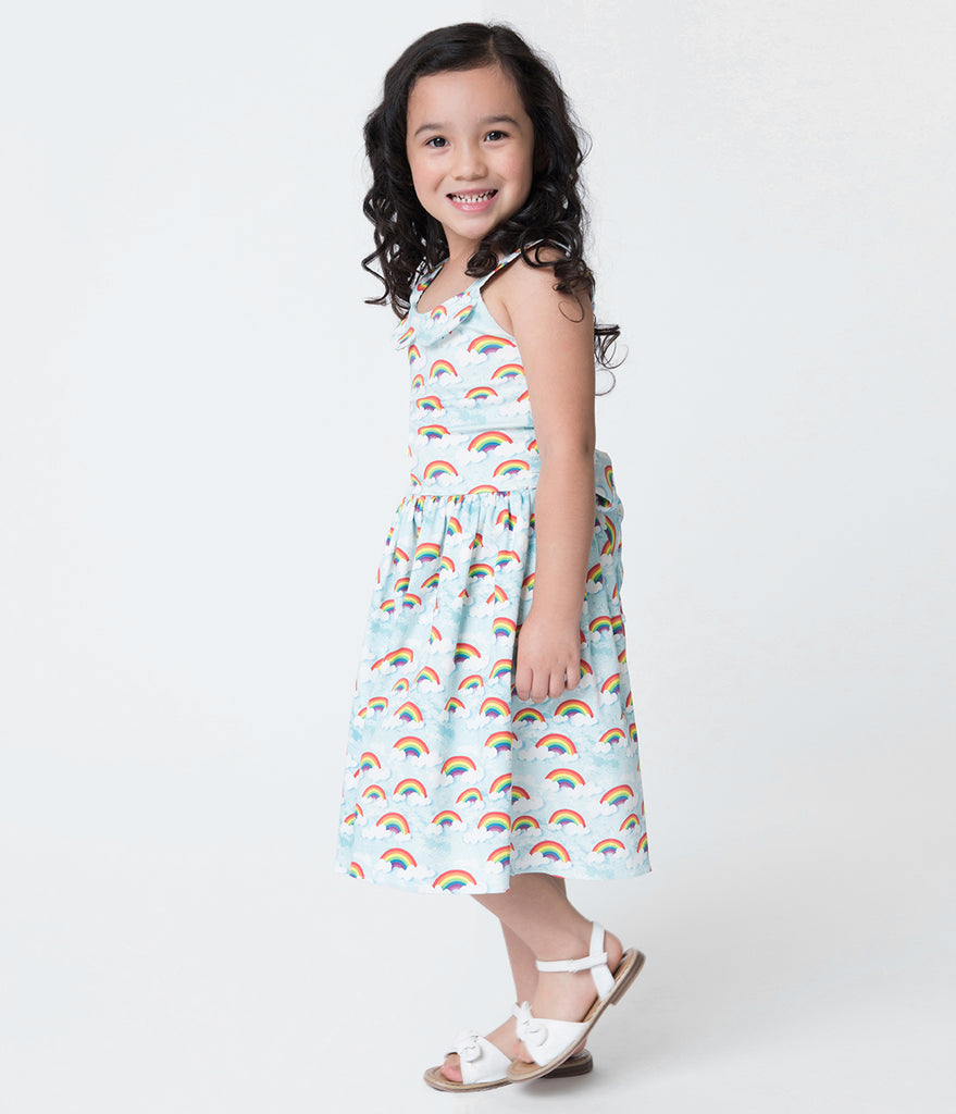 Unique Vintage Rainbow Print Girls Dress