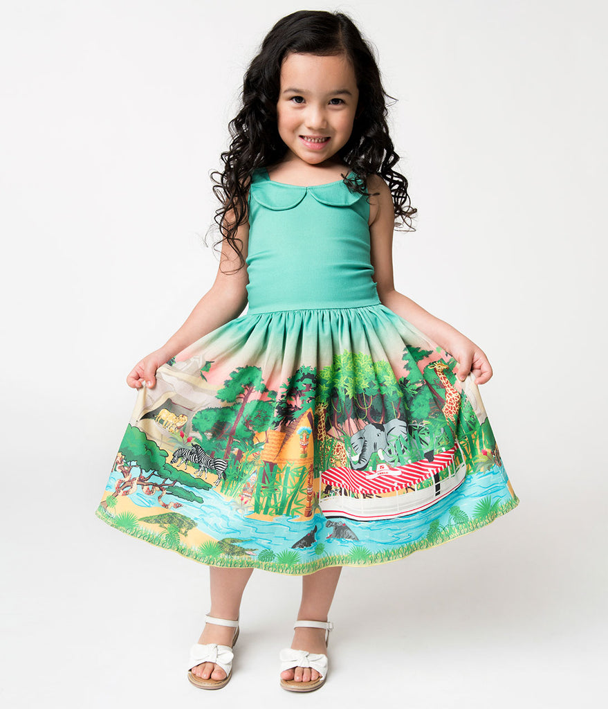 Unique Vintage Green Jungle Cruise Girls Dress