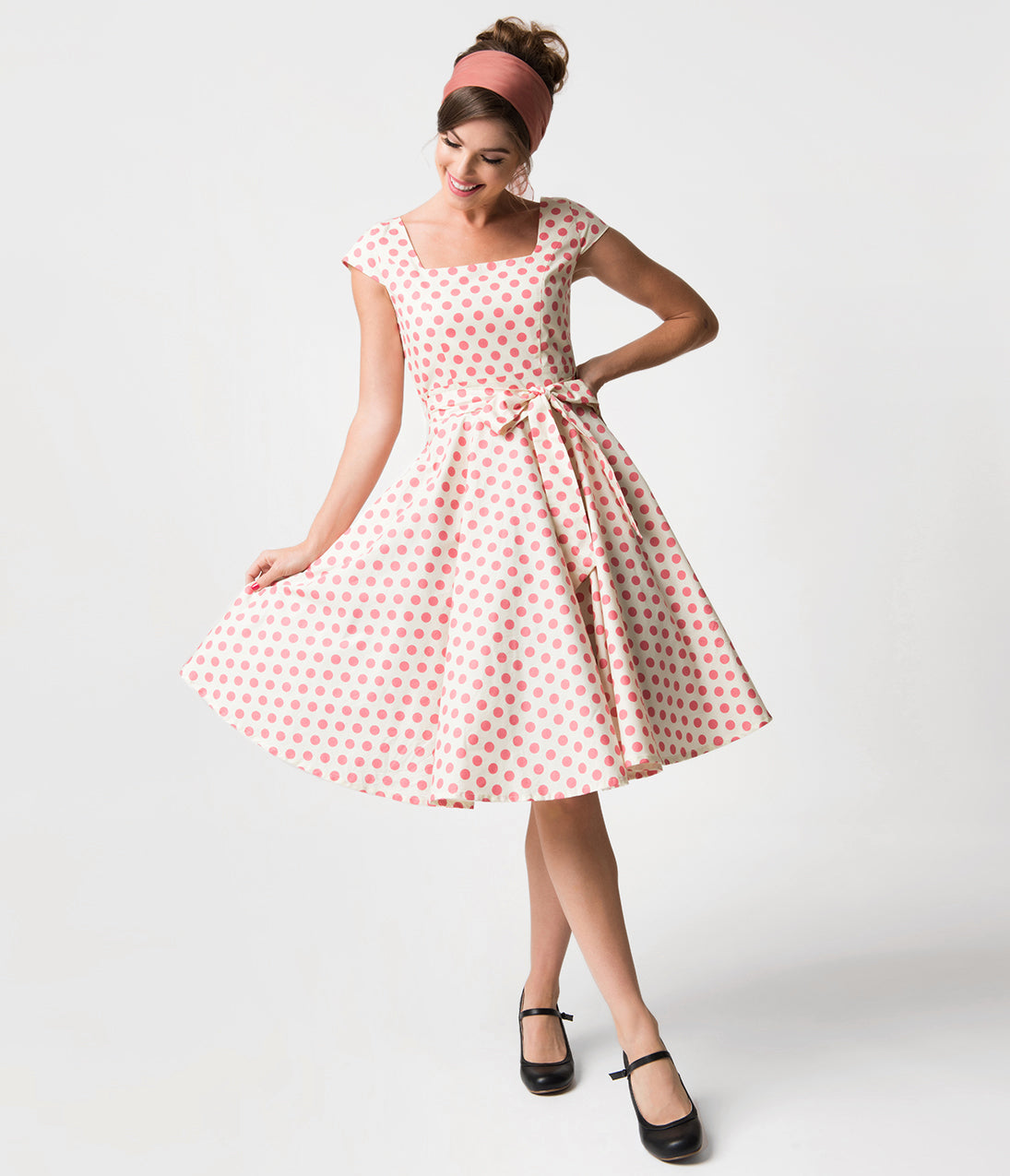 Polka Dot Dresses: 20s, 30s, 40s, 50s, 60s Ivory  Pink Polka Dot Print Anna Cap Sleeve Swing Dress $68.00 AT vintagedancer.com