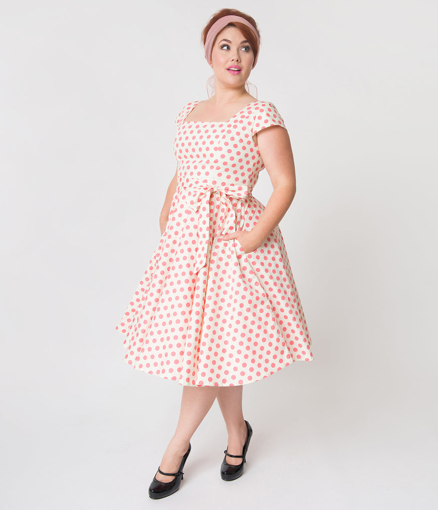 Plus Size Ivory & Pink Polka Dot Print Anna Cap Sleeve Swing Dress