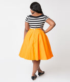 Plus Size 1950s Style Bright Orange Cotton Circle Skirt