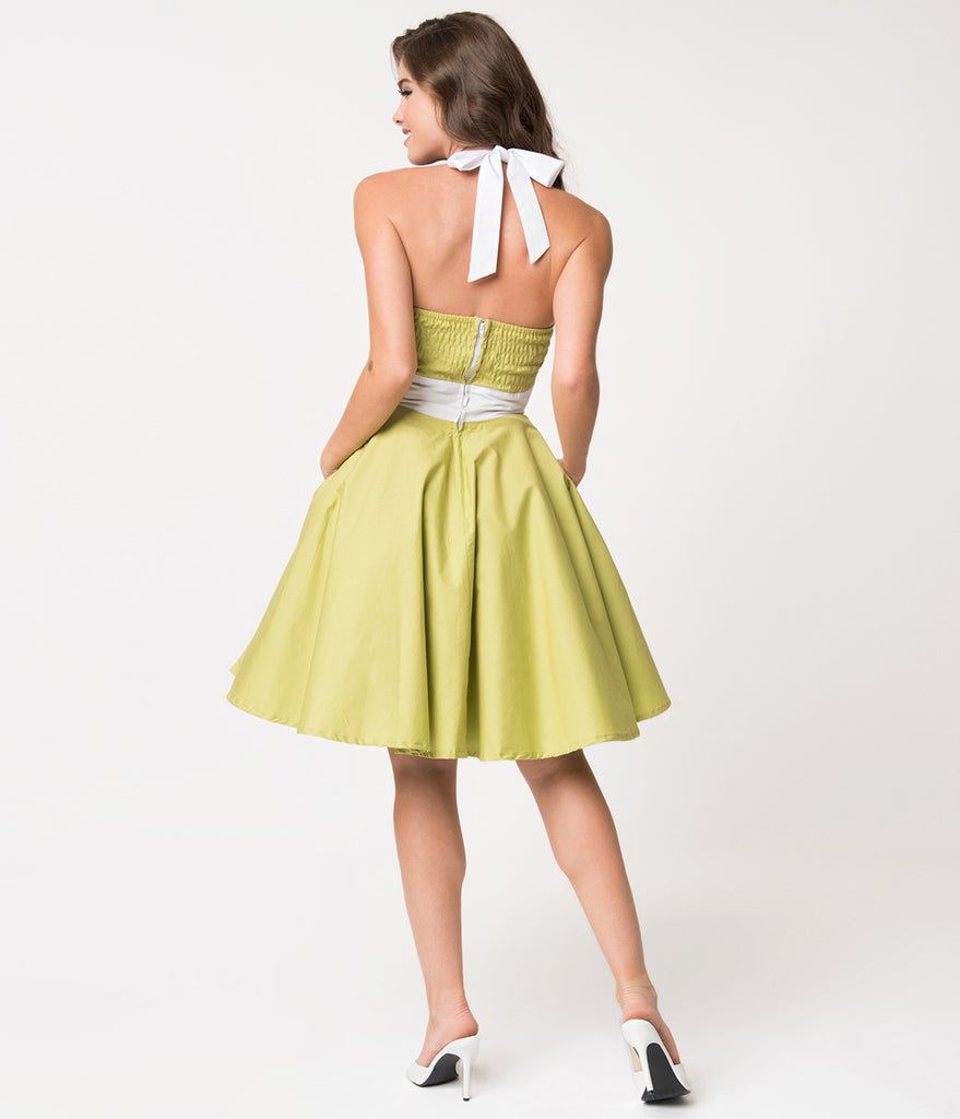1950s Style Olive Green & White Halter Ashley Swing Dress