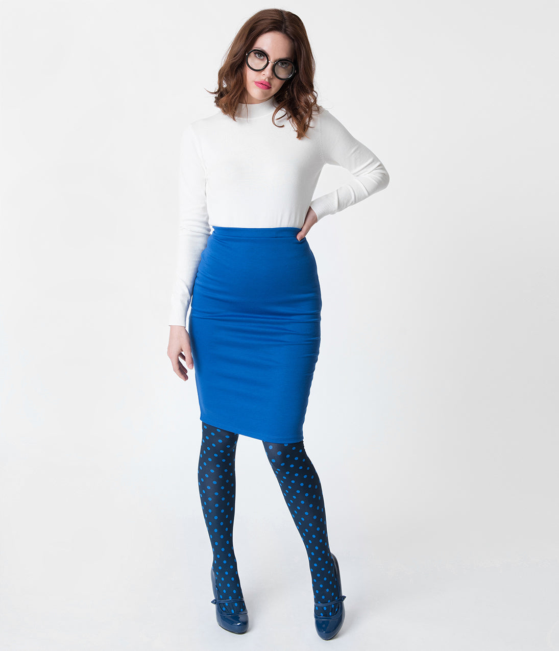 Retro Skirts: Vintage, Pencil, Circle, & Plus Sizes Royal Blue Stretch Knit Pencil Skirt $32.00 AT vintagedancer.com
